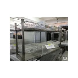 Стеллаж для тарелок и стаканов -2 полочный -каркас нерж 895/270/490 мм